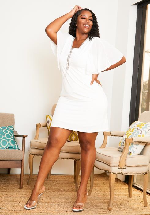 Asoph Plus Size Womens Angelic Wide Sleeved Mini Dress