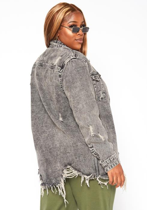 Asoph Plus Size Womens Long Charcoal Denim Jacket