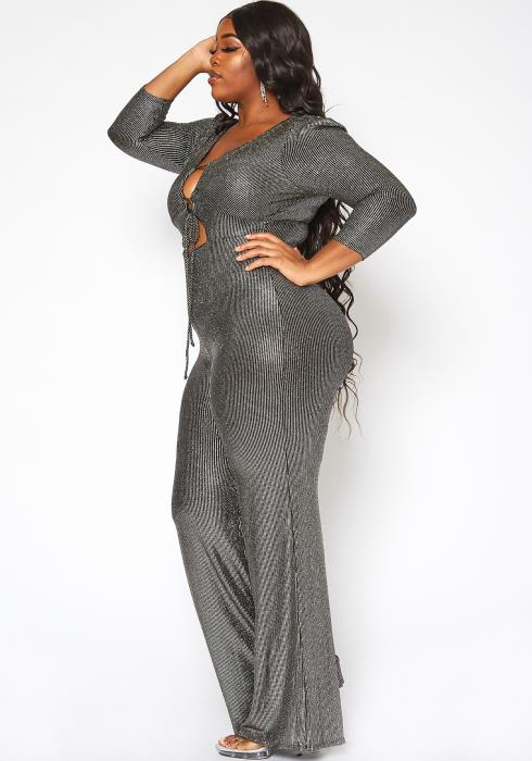 Asoph Plus Size Metallic Lurex Tie Front Jumpsuit