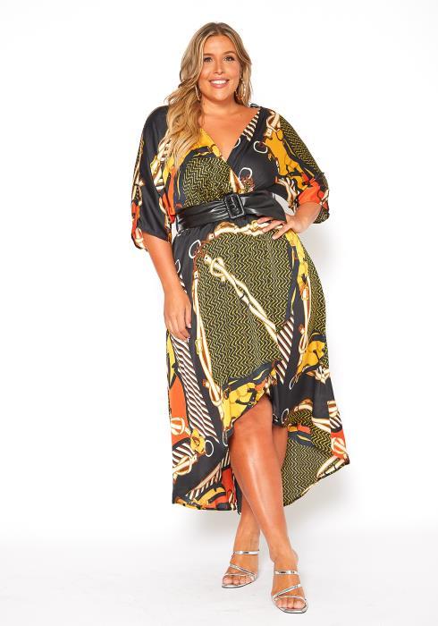 Asoph Plus Size Multi Hi Lo Maxi Dress