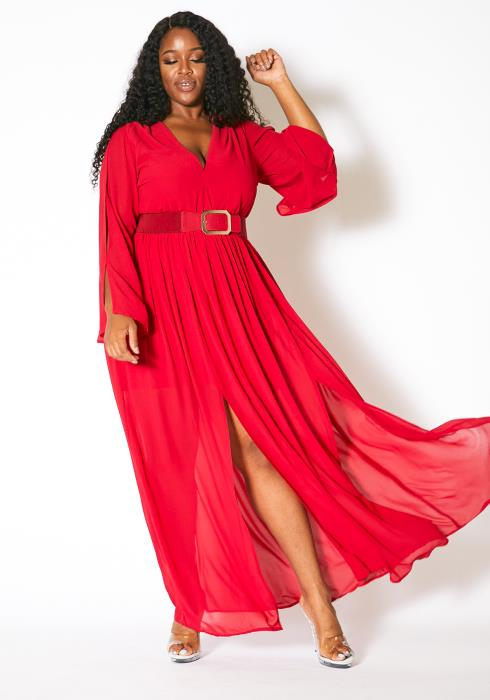 Asoph Plus Size Double Slitted Womens Chiffon Maxi Dress