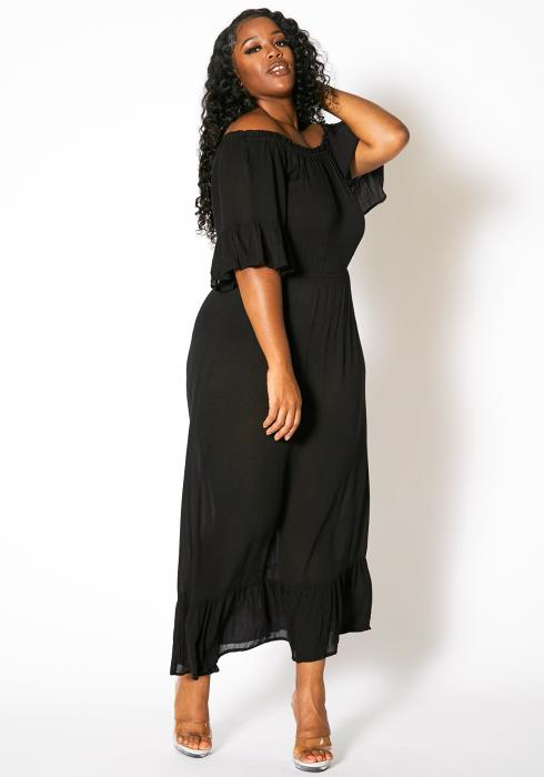 Asoph Plus Size Ruffle Off Shoulder Maxi Dress