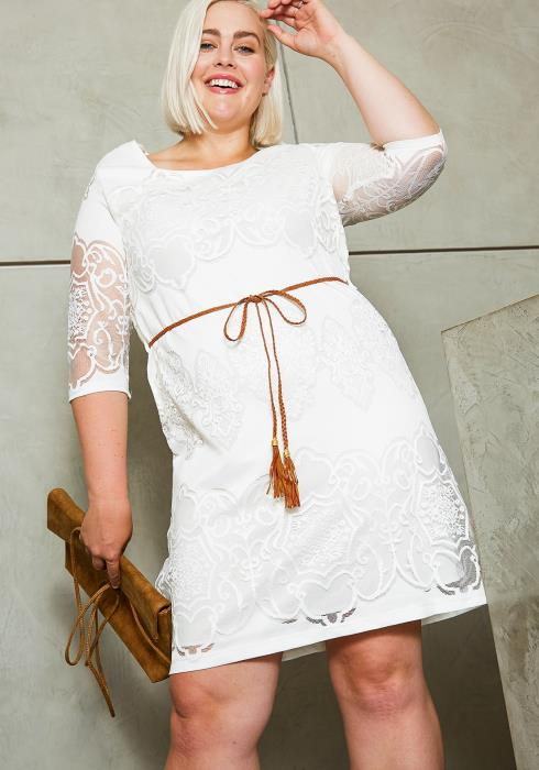 Asoph Plus Size Womens Admiring Lace Mini Dress
