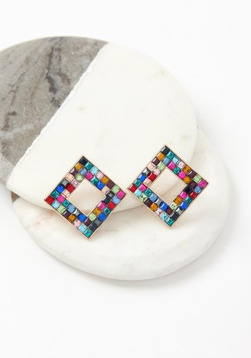 Colorful Mosaic Stone Earring Stud
