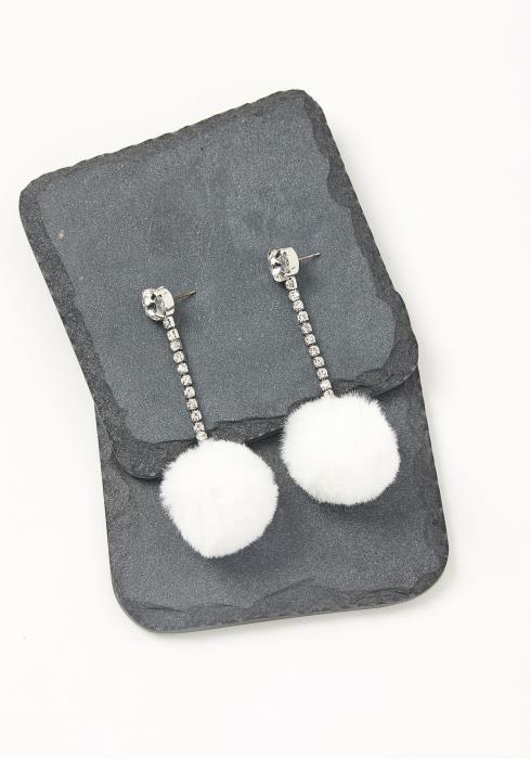 Cubic White Pom Pom Earrings