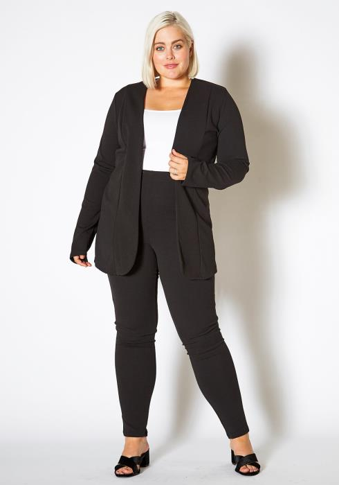 Asoph Plus Size Open Front Blazer and Dressing Pants Women Set