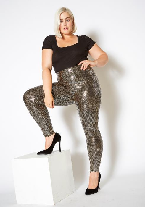 Asoph Plus Size Gold Metallic High Waist Leggings