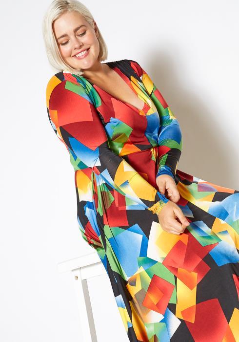 Asoph Curvy Womens Art of Fashion Long Sleeve Maxi Dress