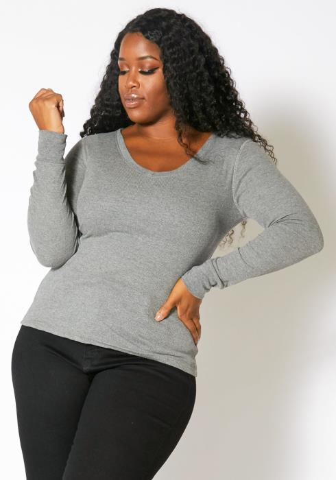 Asoph Plus Size Basic Womens Ribbed V-Neck Long Sleeve Top