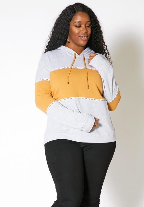 Asoph Plus Size Womens Babe Block Hoodie Sweater