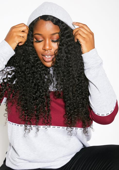 Asoph Plus Size Womens Babe Block Hoodie Sweater