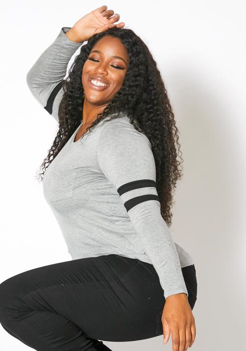 Asoph Plus Size Womens Classic Varsity Long Sleeve Shirt