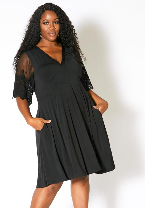 Asoph Plus Size Womens Sweet Laced Shoulder Fit and Flare Dress
