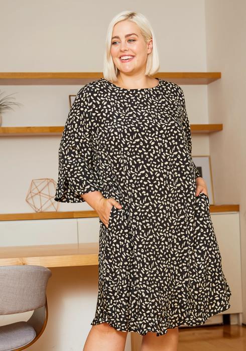 Asoph Curvy Womens Leopard Frenzy Flowy Dress