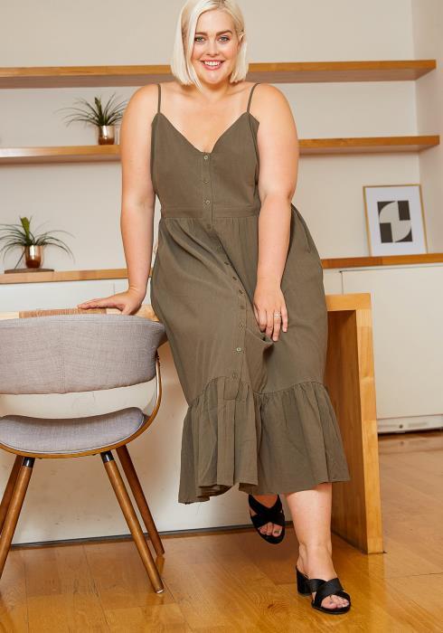 Asoph Plus Size Cami Button Front Women Midi Dress