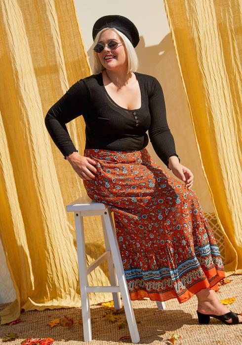 Asoph Plus Size Vintage Paisley Maxi Skirt