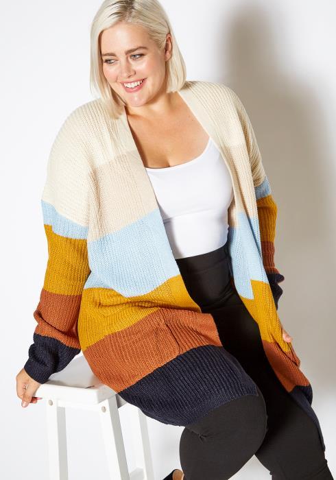 Asoph Plus Size Womens Fall Season Color Block Open Front Cardigan