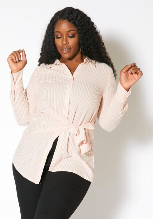 Asoph Plus Size Striped Tie Waist Button Up Shirt