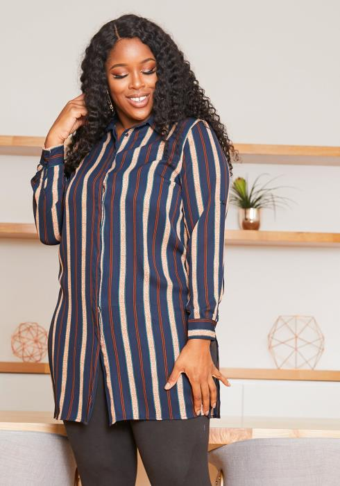 Asoph Plus Size Vintage Striped Womens Collar Blouse
