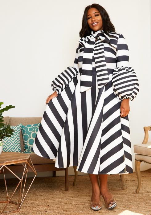 Asoph Plus Size Wonderland Striped Womens Flare Midi Dress