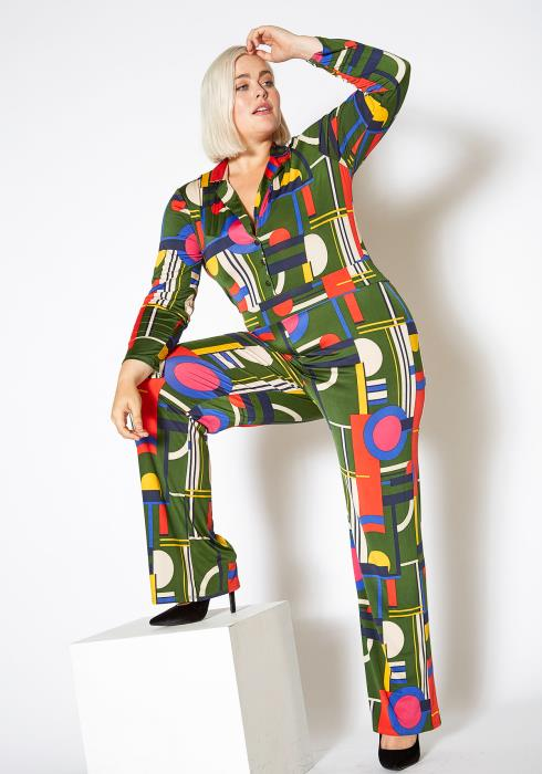 Asoph Plus Size Multi Color Geo Print Collared Jumpsuit