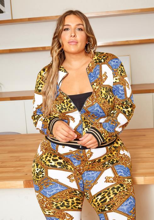 Asoph Plus Size Royal Leopard Zip Up Jacket and Matching Pants Set