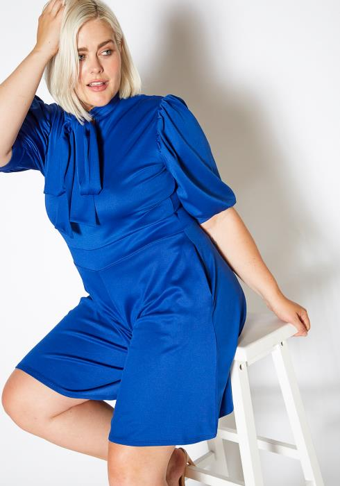 Asoph Plus Size Tie Neck Puff Sleeve Romper