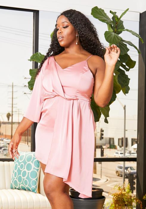 Asoph Curvy Womens Single Sleeved Cami Drape Satin Mini Dress