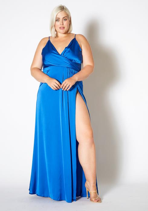 Asoph Plus Size Satin Blue Slit Hem Evening Gown Dress