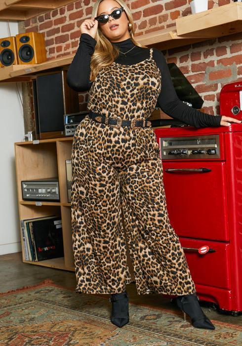 Asoph Curvy Womens Savage Leopard Cami Jumpsuit