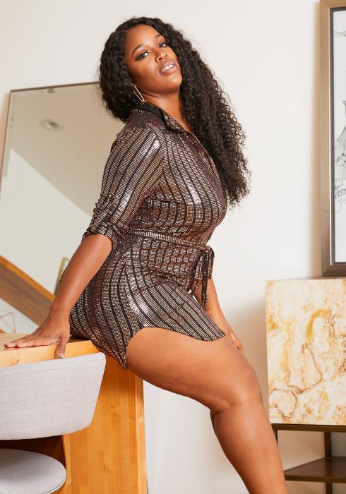 Asoph Plus Size Metallic Sequined Button Up Women Dress