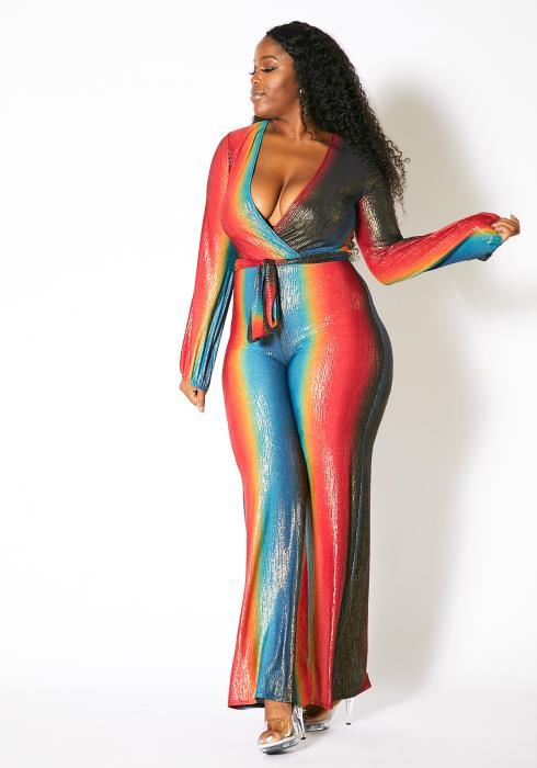 Asoph Plus Size Womens Metallic Ombre Jumpsuit