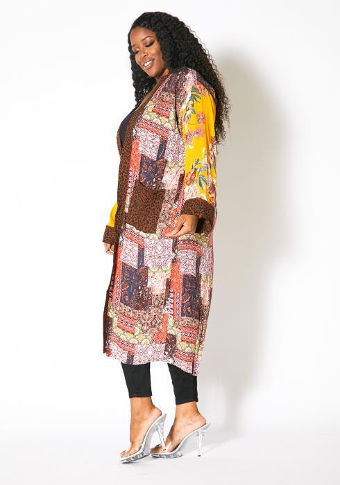 Asoph Plus Size Luxuriant Vibe Open Front Womens Kimono