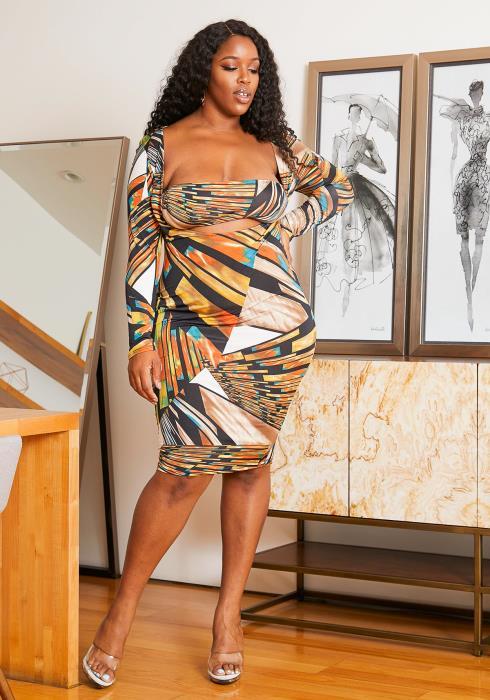Asoph Curvy Womens Geometric Long Sleeve Tube Dress