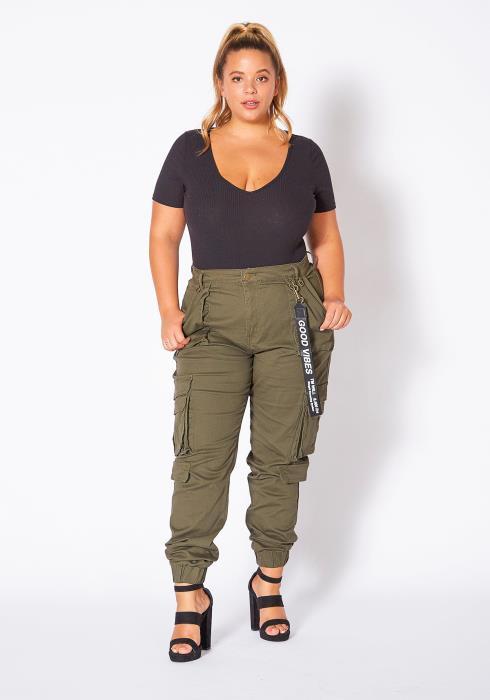 Asoph Curvy Womens Good Vibes Cargo Pants