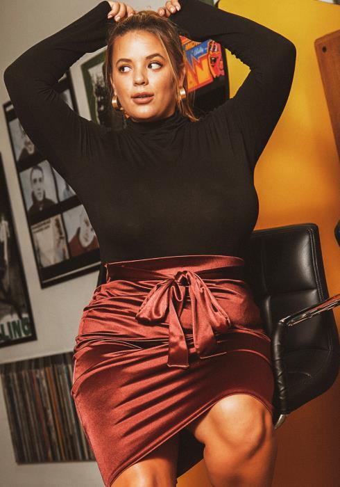 Asoph Plus Size Dreamy Satin Womens Pencil Skirt