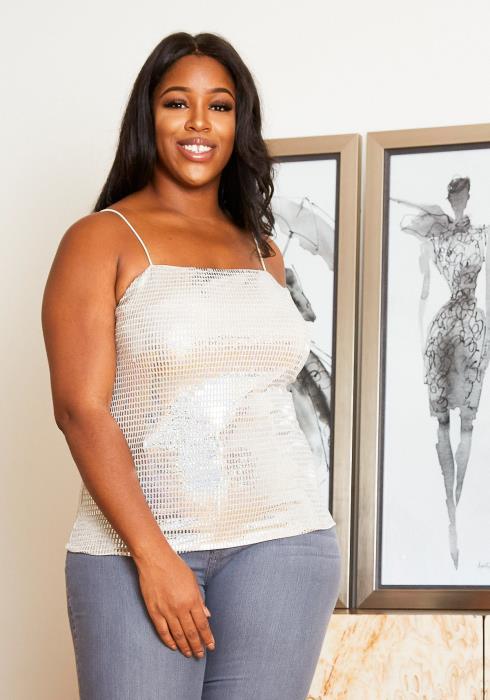 Asoph Plus Size Holographic Faux Sequin Women Cami Top