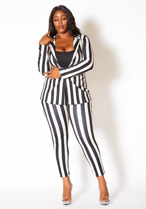Asoph Plus Size Striped Co-ord Blazer and Matching Pants Set