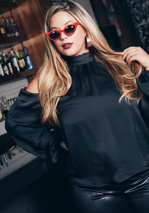Asoph Plus Size Womens Cold Shoulder Mock Neck Blouse