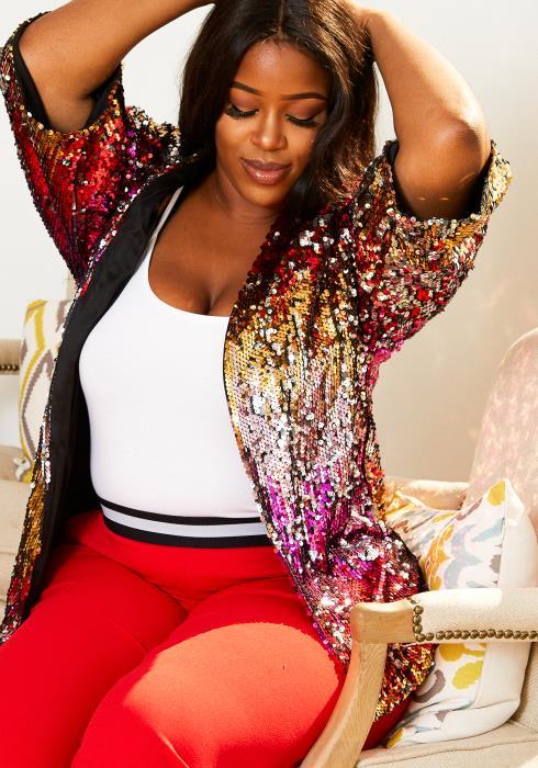 Asoph Plus Size Party Ombré Sequin Womens Blazer