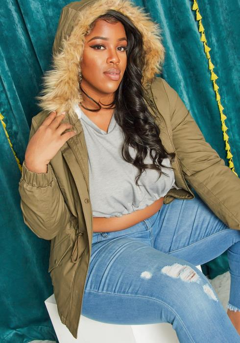 Asoph Plus Size Faux Fur Hooded Utility Jacket