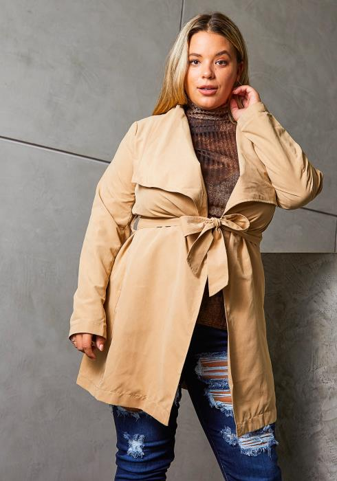 Asoph Plus Size Notched Collar Womens Duster Coat