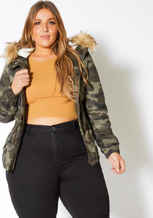 Asoph Plus Size Womens Faux Fur Trim Camo Puffer Jacket