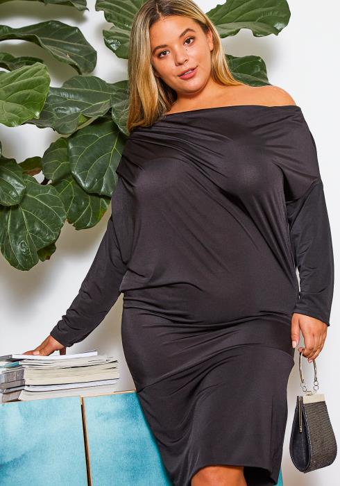 Asoph Curvy Womens Off the Shoulder Ruched Midi Dress