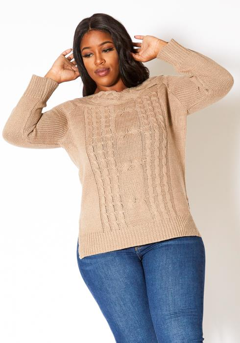 Asoph Plus Size Womens Warm Cable Knit Sweater Top