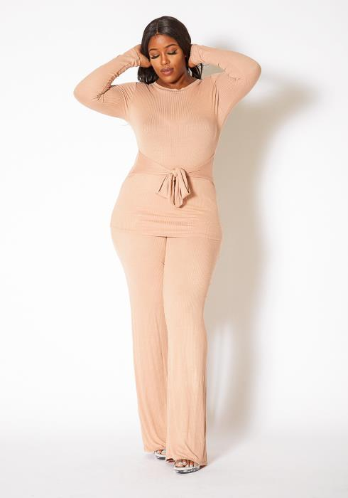 Asoph Curvy Womens Comfy Gal Long Sleeve and Flare Pants Set