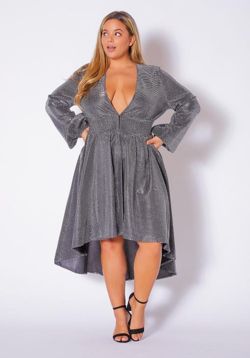 Asoph Plus Size High To Low Silver Metallic Womens Dress