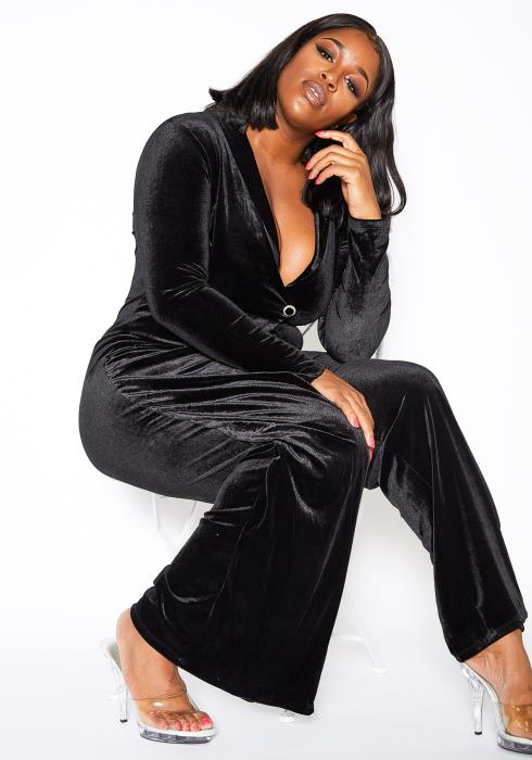 Asoph Plus Size Womens Blackout Velvet Flare Jumpsuit
