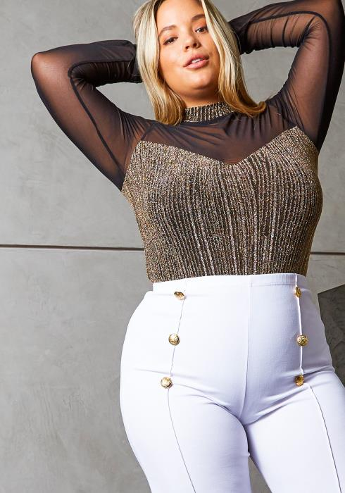 Asoph Curvy Womens Gold and Mesh Contrast Bodysuit
