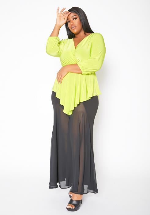 Asoph Plus Size Womens Asymmetric Elegant Peplum Blouse